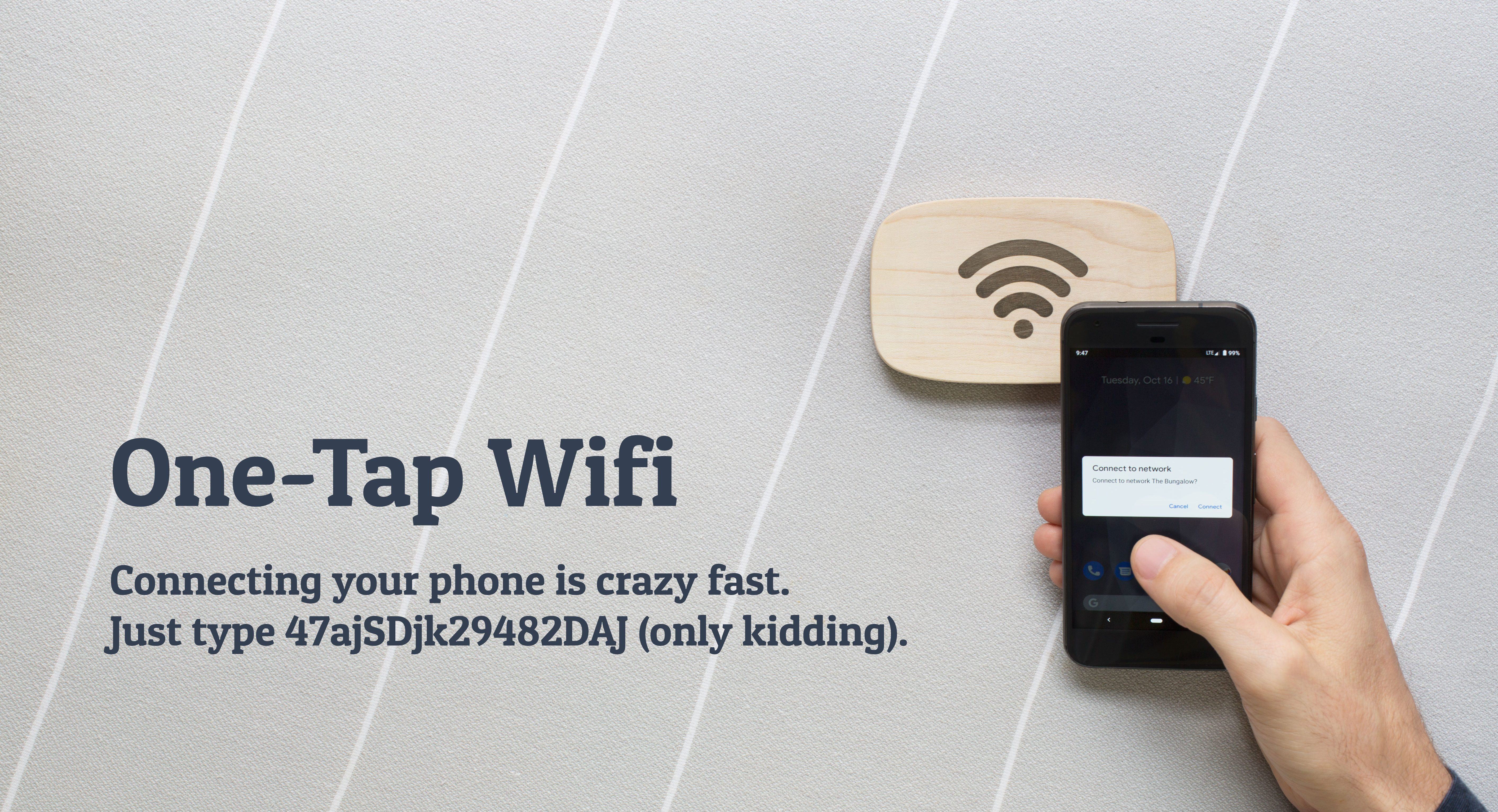 NFC-enabled wooden puck connects you securely to Wi-Fi with a tap